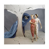 Models in Set Painted by Vertes Wearing Both Wearing Slim-Fitting Dresses by Talmack Regular Photographic Print