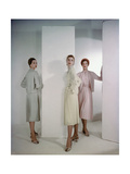 Three Models (Suzy Parker Middle) Wearing Dior's Three Piece Suits Photographic Print