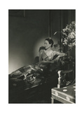 Duchess of Windsor Wearing a Lame Gown Reclining on a Chaise Regular Photographic Print
