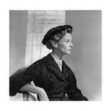 Mrs. Henry Ford Ii Modeling Black Felt Hat Photographic Print