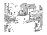 Two cars pull away from each other with cans tied to the bumpers, the car  - New Yorker Cartoon Premium Giclee Print by Michael Crawford