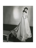 Mrs. Charles Wrightsman (Jayne) Modeling a Long White Satin Watteau Coat with High Mink Collar Regular Photographic Print