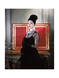 Mme. Valentina Sporting a Coiffure of Black Tulle of Her Own Design Photographic Print