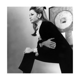 Robin Butler in Black Pants Suit over White Blouse with Lace Cuffs and Collar Photographic Print