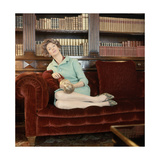 Film Strip of Four 120mm Images; Number 11; Donna Marella Agnelli Sits in Her Turin Library Regular Photographic Print