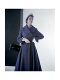 Model Wearing Sky Blue Spring Coat in Mixture of Wool and Rabbit'S-Hair and Hat of Panama Straw Photographic Print