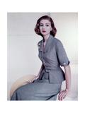 Model Wearing Italian Sky Blue Silk Suit Photographic Print