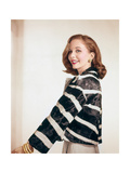 Side View of Brooke Hayward Wearing Rhinestone Jewelry and a Zebra Jacket Made by Ben Kahn Photographic Print