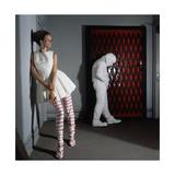 Outtake: Model Veruschka Wearing Emba White Mink Tennis Dress Photographic Print