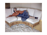 Model Reclining on Bamboo Couch Regular Photographic Print