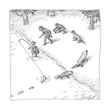 A fisherman wading in the water  catches a fish who precedes other other c - New Yorker Cartoon Premium Giclee Print by John O'brien
