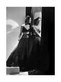 Models Wearing (From Left) Black Lace Gown with Lace Brassiere Top Photographic Print