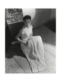 Miss Li Ling-Ai Wearing Pleated Short-Sleeved Evening Dress by Hattie Carnegie Regular Photographic Print