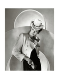 Model Wearing a White Wool Sea-Dog Jacket with Red Cravat by Vera Maxwell Regular Photographic Print