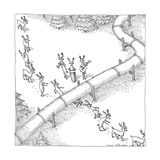 Reindeer in a conga line do the limbo beneath a pipeline. - New Yorker Cartoon Premium Giclee Print by John O'brien