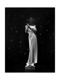 Louise Sheldon Modeling Draped Column Dress by Maggy Rouff and Jewelry by Boucheron Photographic Print