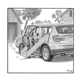 Family entering their SUV with the aid of a large airline style wheel-up r - New Yorker Cartoon Premium Giclee Print by Harry Bliss