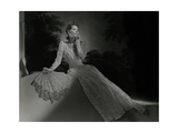 Mrs. John Wilson Wearing White Lace Dress and Jewelry by Cartier Photographic Print
