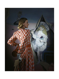 Model Standing before a Mural by Vertes Wearing a Red and White Lattice-Checked Rayon Crepe Dress Photographic Print