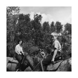 Mrs. William Paley and Her Son Tony Mortimer Riding Horses at Deer Creek Ranch Photographic Print