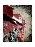 Close-Up of Model's Legs Wearing Wine-Colored Baby Calf and Lizard One-Eyelet Shoe Photographic Print