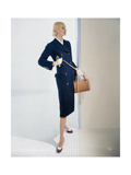 Model Sunny Harnett Wearing Long-Bodied, Slim Lined Navy Blue Wool Coat with Brass Buttons Regular Photographic Print