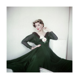 Model Wearing an Emerald Green Chiffon Dress with Ripple of Mink and Pale Pink Roses Photographic Print