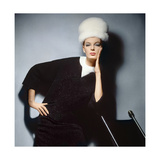 Model in Black Wool Bill Blass Dress with Neck of White Mink and Mink Hat Photographic Print