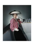 Model Wearing White Hat by Arnold Constable and Pink and Black Skirt Suit by Carolyn Modes Regular Photographic Print