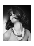 Marie-Pierre Colle De Cicco Wearing Two Necklaces Made of Ropes of Tiny Beads Photographic Print