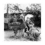 Marina and Patrick Guinness Playing Among with Stone Ornaments Regular Photographic Print