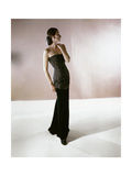 Model Wearing Strapless Gown of Jet and Velvet by Leslie Morris Photographic Print
