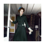 Model Wearing Green Wool Tweed Suit Photographic Print