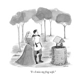 """II miss my frog wife."" - New Yorker Cartoon Premium Giclee Print by Emily Flake"