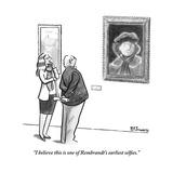 """""""I believe this is one of Rembrandt's earliest selfies."""" - New Yorker Cartoon Premium Giclee Print by Benjamin Schwartz"""