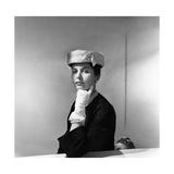 Eliane Orosdi Modeling Balenciaga Ermine-Bordered Cloche Photographic Print