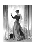 Back View of Model Georgia Carroll Standing in Window Photographic Print