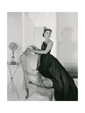 Mrs. Edward Patterson Modeling One-Shoulder Evening Dress by Mainbocher Photographic Print