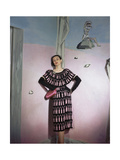 Model Leaning Against Mural by Vertes Wearing Pink and Black Print Rayon Crepe Traina-Norell Photographic Print
