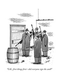 """O.K., first things firstdid everyone sign the card"" - New Yorker Cartoon Premium Giclee Print by Tom Cheney"