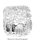 """Wherever he is, I know he'll be upgraded."" - New Yorker Cartoon Premium Giclee Print by Edward Koren"
