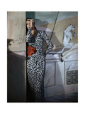 Model Standing before a Mural by Vertes Wearing a Black and White Print Rayon Crepe Dinner Dress Photographic Print