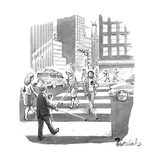 People are crossing the street looking at their cell phones and using walk - New Yorker Cartoon Premium Giclee Print by Liam Walsh
