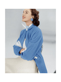 Model Wearing Stroock Fleece Turquoise Shirt Coat with Shirttails Photographic Print
