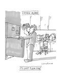 """(A man drinks milk straight from the carton in a very messy kitchen  """"Liv - New Yorker Cartoon Premium Giclee Print by Michael Crawford"""