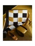 White, Gold and Black Checkered Silk Scarf, Shantung and Velvet Handbag, and Gold Kidskin Shoe Photographic Print