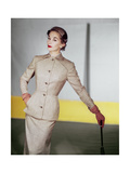Model Wearing a Beige Tissue Wool Suit Photographic Print