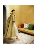 Model Wearing Gold Silk Taffeta Shantung Coat over a Gold Organdie Dress by Cecil Chapman Photographic Print