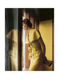 Model Wearing a Gold Cape Collared Tootal Linen Summer Dress Photographic Print