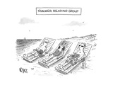 Summer Reading Group -- Three beach goers lounge with books used as a drin... - New Yorker Cartoon Giclee Print